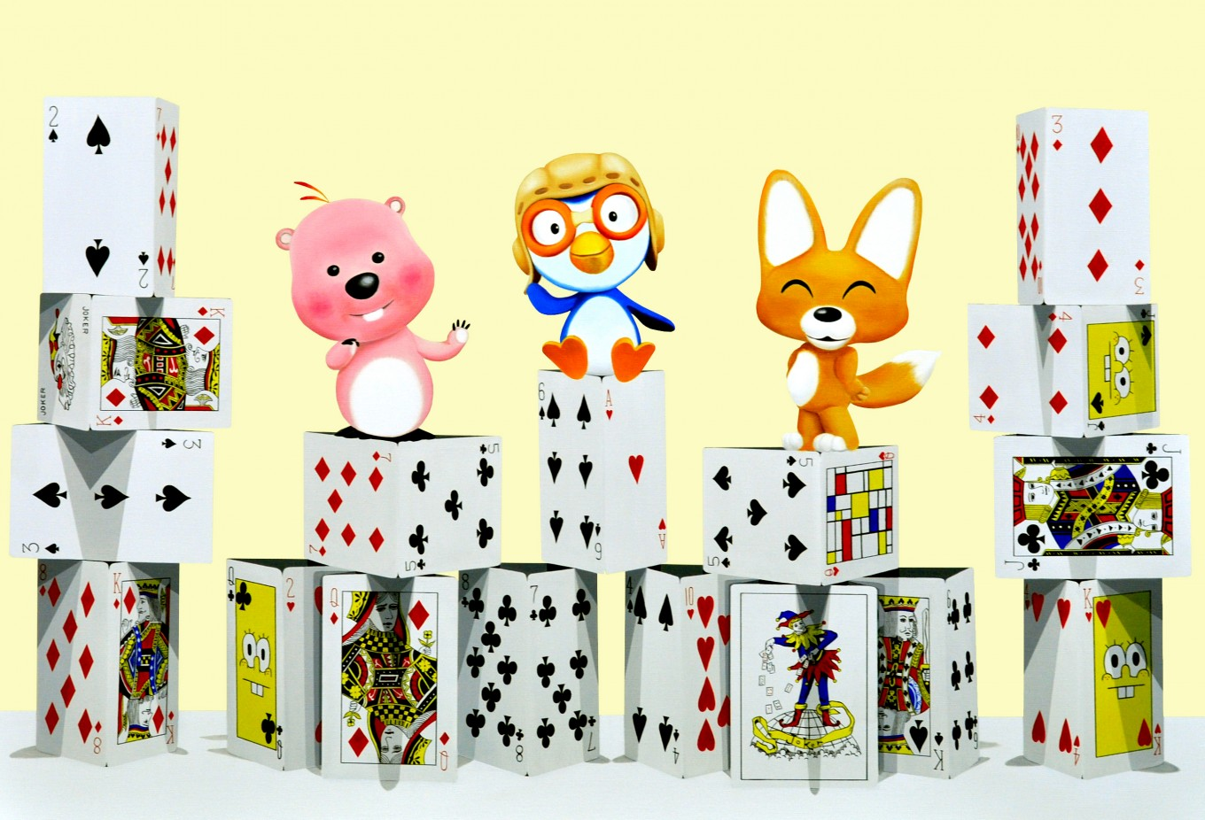 The tower of card - pororo friends_116.7x80.3cm oil on canvas 2015