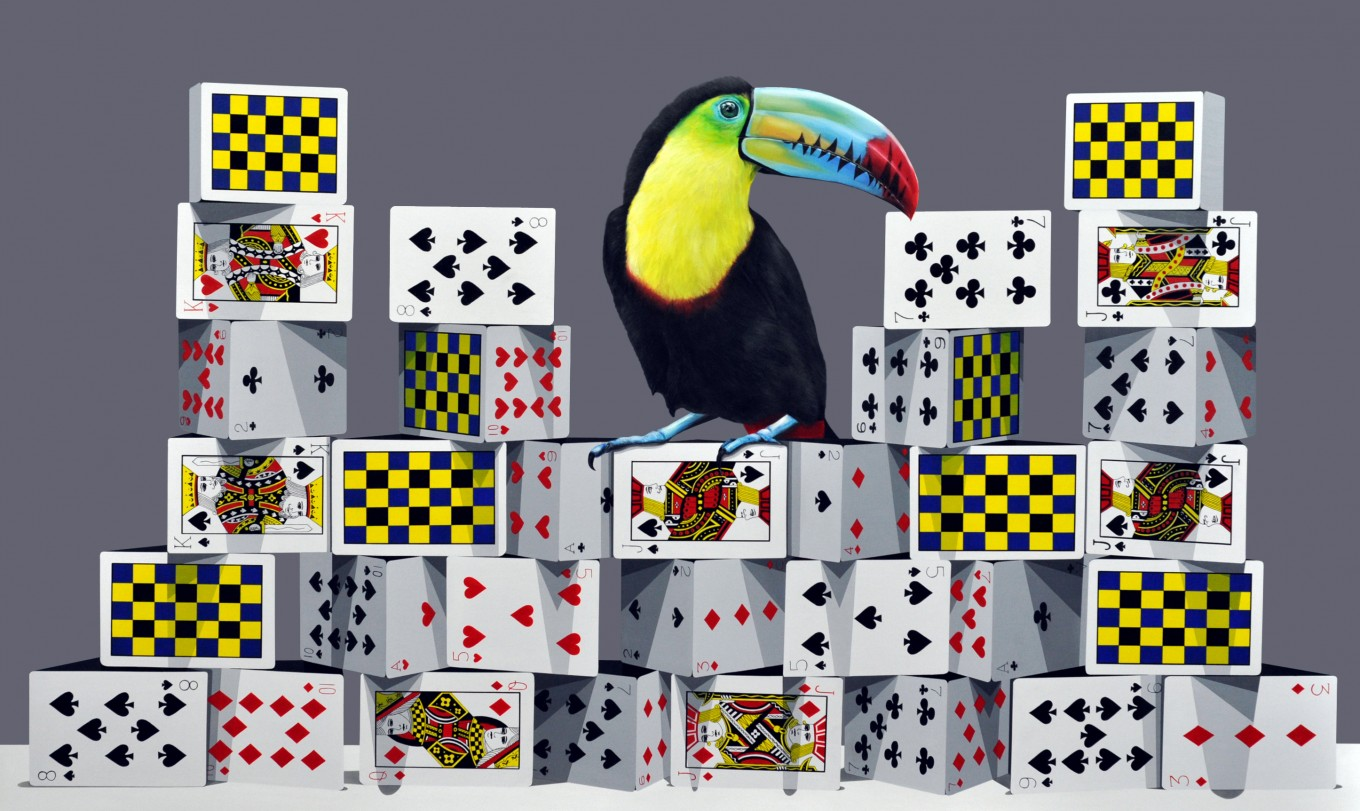 The tower of card-Toco Toucan 162.2x97.0cm oil on canvas 2016
